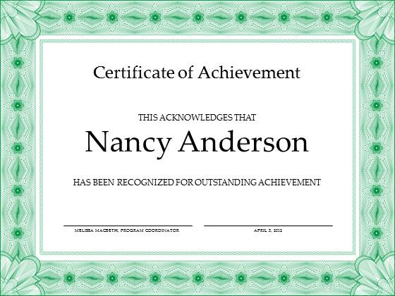 Free Achievement Certificate Template For Powerpoint  Free