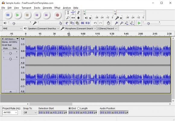 Use Audio - Audacity - Import Audio -2- FreePowerPointTemplates