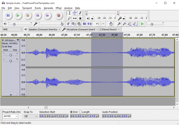 Use Audio - Audacity - Noise Removal - 1 - FreePowerPointTemplates