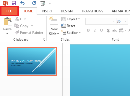 Click File menu - Powerpoint 2013 - freepowerpointtemplates