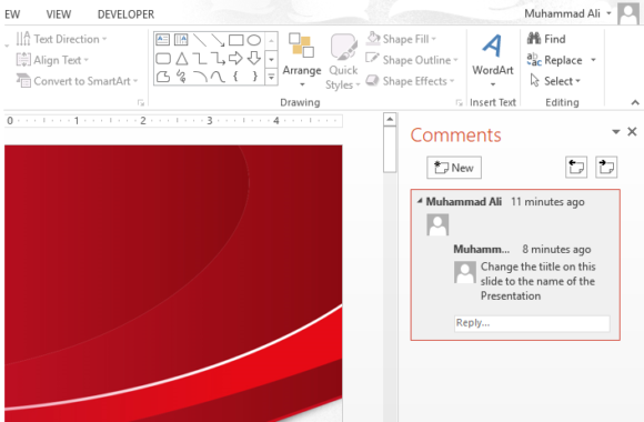 Comments -- PowerPoint 2013 - REVIEW - New Comment - 2 - FreePowerPointTemplates