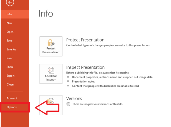 Embed -- File - Options - PowerPoint 2013 - FreePowerPointTemplates