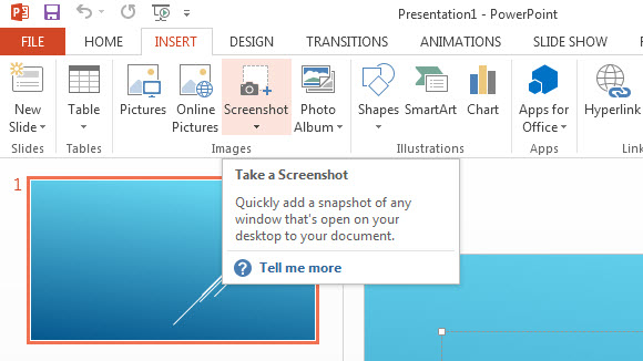 how to insert screenshots in powerpoint 2013