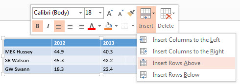 how to delete rows in ppt tble