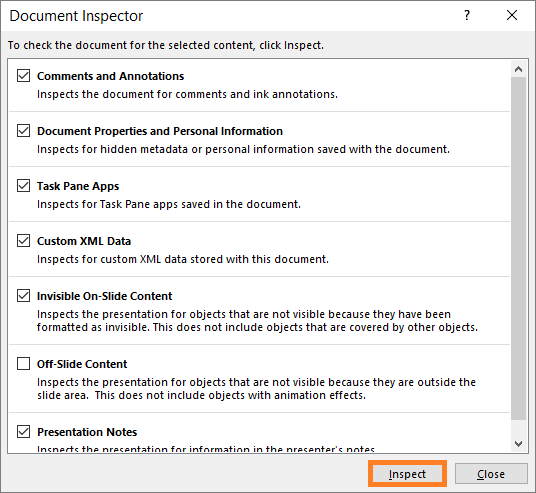 Inspect Document -- Check for Issues - Inspect Document - Inspect - PowerPoint 2013 - FreePowerPointTemplates