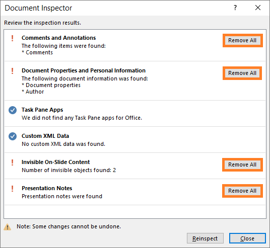 Inspect Document -- Check for Issues - Inspect Document - Inspect - Remove All - PowerPoint 2013 - FreePowerPointTemplates