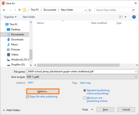 PowerPoint Files -- File - Save as - PDF - Options... - FreePowerPointTemplates