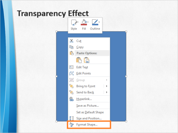 Transparency -- PowerPoint 2013 - Format Shape - 1 - FreePowerPointTemplates