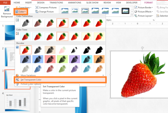 Transparent -- Picture Tools - Format - Color - Set Transparent Color - FreePowerPointTemplates