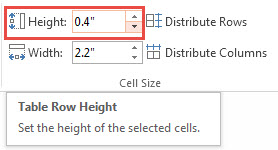 Adjusting Width and Height of Cells in PowerPoint 2013 2