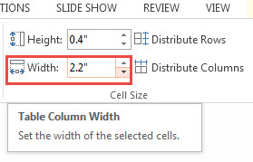 Adjusting Width and Height of Cells in PowerPoint 2013 3
