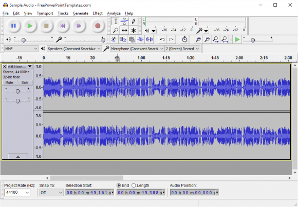 Use Audio - Audacity - Import Audio -2- FreePowerPointTemplates