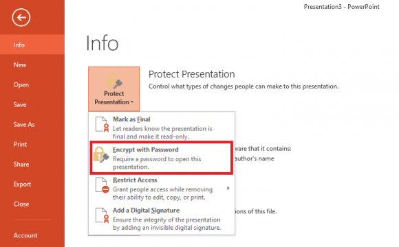 Click File menu - Protect Presentation 2 - Powerpoint 2013 - freepowerpointtemplates