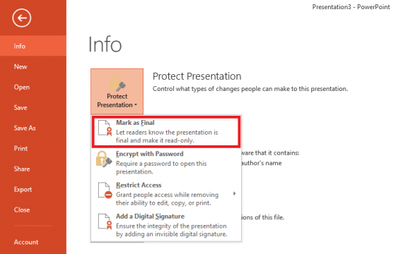 Click File menu - Protect Presentation - Mark as Final - Powerpoint 2013 - freepowerpointtemplates