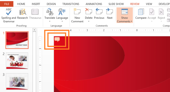Comments -- PowerPoint 2013 - REVIEW - New Comment - 3 - FreePowerPointTemplates