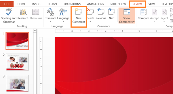 Comments -- PowerPoint 2013 - REVIEW - New Comment - FreePowerPointTemplates