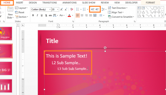 Formatting - PowerPoint 2013 - HOME - Level - FreePowerPointTemplates
