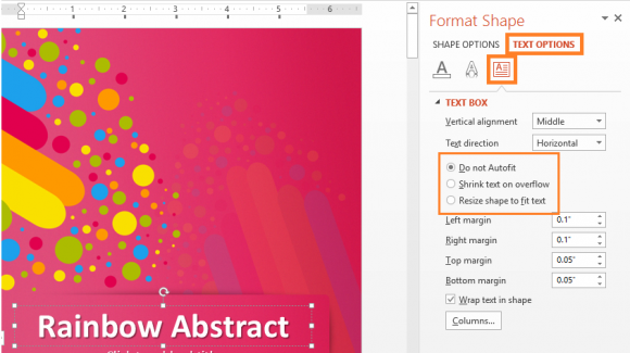 Formatting - PowerPoint 2013 - TExtBox - Right-Click - TEXT OPTIONS - FreePowerPointTemplates