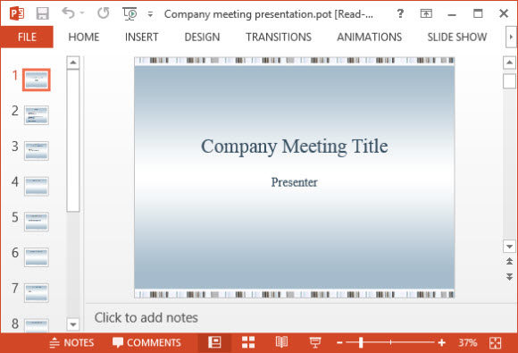 Free Company Meeting Presentation PowerPoint Template 1A