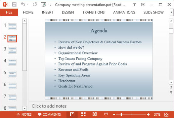 Free Company Meeting Presentation PowerPoint Template 2A