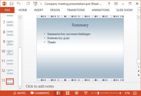 Free Company Meeting Presentation PowerPoint Template 3A