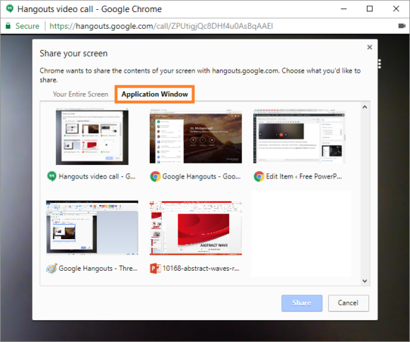 Google Hangouts -- Share Screen - Application Window - 2 -FreePowerPointTemplates