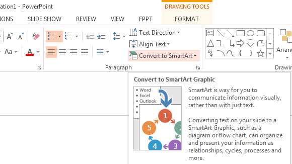 How To Convert Text into SmartArt in PowerPoint 2013 1