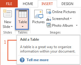 How To Create a Table in PowerPoint 2013 1