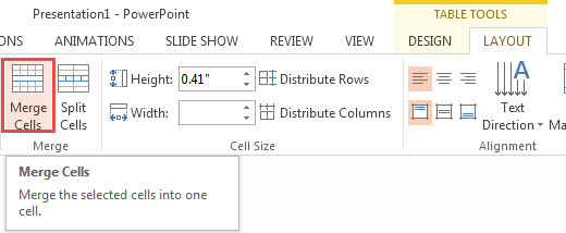 How To Split and Merge Cells in PowerPoint 2013 1