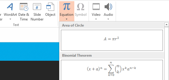 Insert Symbols and Equations in PowerPoint 2013 13