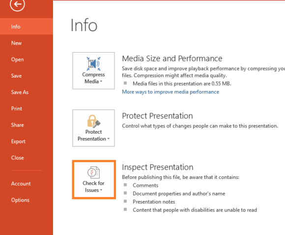Inspect Document -- Check for Issues - PowerPoint 2013 - FreePowerPointTemplates