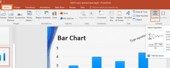 PowerPoint 2016 - Insert - Equation