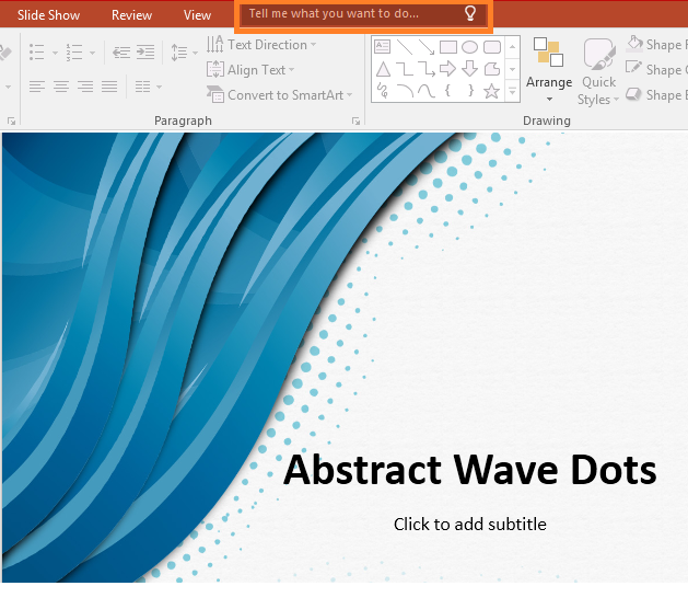 PowerPoint 2016 - Tell me what you want to do -- Freepowerpointtemplates