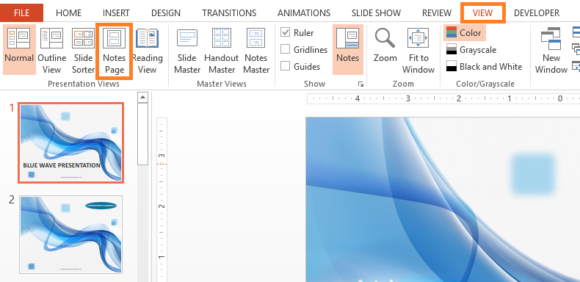 Presenter Notes -- VIEW - Notes Page - PowerPoint 2013 - FreePowerPointTemplates