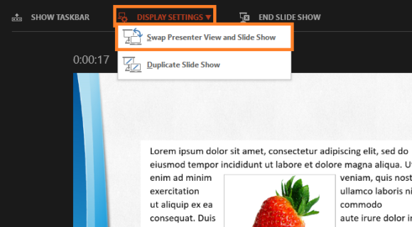 Presenter View -- Slide Show - Presenter View - Display Settings - Swap Presenter View and Slide Show - PowerPoint 2013 - FreePowerPointTemplates