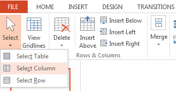 Select a Row Column or a Single Cell in PowerPoint 2013 4