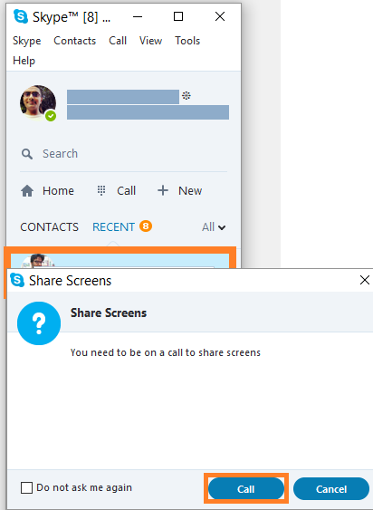 Skype -- Right Click - Share Screens... - 2 - FreePowerPointTemplates