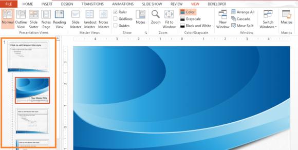 Slide Master -- Ribbon Toolbar - View - Slide Master - 2 - FreePowerPointTemplates