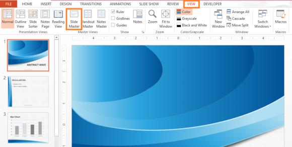 Slide Master -- Ribbon Toolbar - View - Slide Master - FreePowerPointTemplates