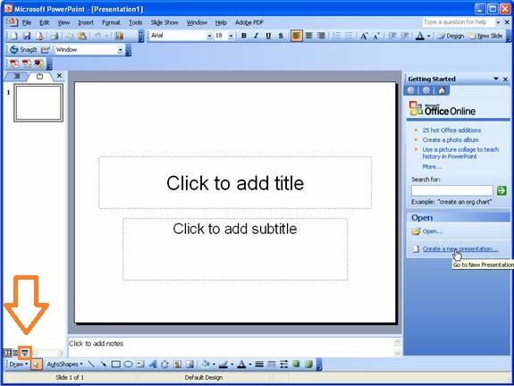 Slide Show -- Button - PowerPoint 2003 - FreePowerPointTemplates