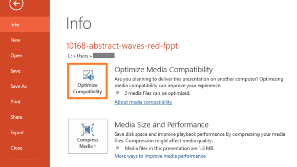 Smaller -- File - Optimize Compatibility - FreePowerPointTemplates