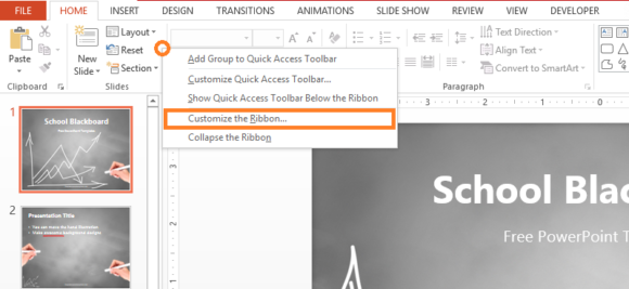 Thesaurus -- PowerPoint 2013 - Right-Click - Customize Ribbon... - FreePowerPointTemplates