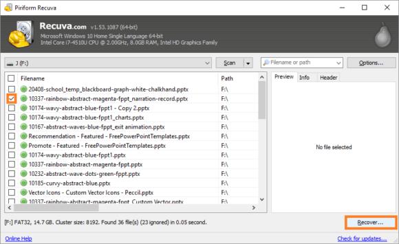 USB Flash Drive -- Recuva - 3 - FreePowerPointTemplates